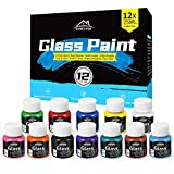 Glass Paint, 12 Colors Vibrant Glass Paint for Wine Glasses, Light Bulbs, DIY Painting