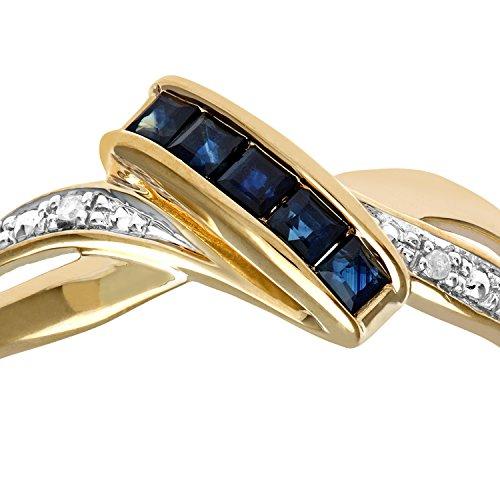 Bague Femme - Or jaune (9 cts) 1.6 Gr - Saphir - Diamant 0.005 Cts