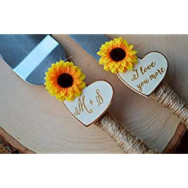 Sunflower Wedding Cake Knife Personalized Wedding Cake Cutter Fall Wedding Cake Cutting Set 10 This sunflower wedding cake knife features twine wrapped handles, silk sunflowers and are customized with two wood burned hearts with your initials and dat