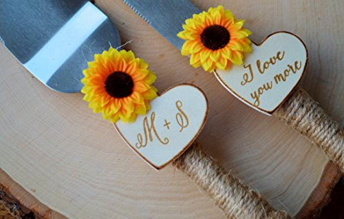 Sunflower Wedding Cake Knife Personalized Wedding Cake Cutter Fall Wedding Cake Cutting Set 1 This sunflower wedding cake knife features twine wrapped handles, silk sunflowers and are customized with two wood burned hearts with your initials and dat