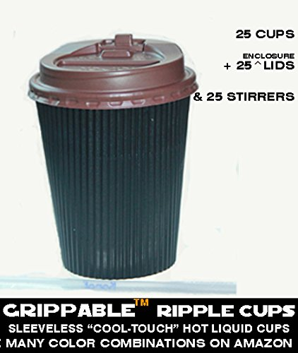 GRIPPABLE? RIPPLE INSULATED HOT/COLD DRINK CUPS, LIDS & STIRRERS Disposable 12OZ 25PAK - CHIC - LOCTITE LIDS / SIPHOLE COVER - Grip EASY - NO LEAKS, NO SLEEVES - ECO-SMART - HOME OFFICE PARTIES