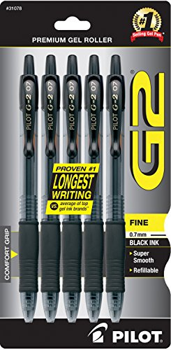 Pilot G2 Retractable Premium Gel Ink Roller Ball Pens, Fine Point, 5-Pack, Black Ink - With 2 Black