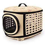 Hard Cover Pet Carrier - Collapsable Pet Travel Kennel for Cats - Small Dogs & Rabbits (Champagne)