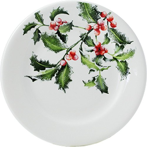"Gien France ""Holly"" Christmas Noel Salad Dessert plate 8 2/3"""