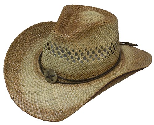 (Seagrs Pinch Front Seashell Conch Straw Cowboy Hat)
