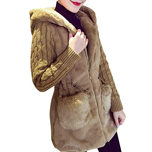 TnaIolr Women's Coats Winter Plus Size,Women Winter Cardigan Fluffy Knitting Plush Hoodies Jacket Warm Outerwear Coat