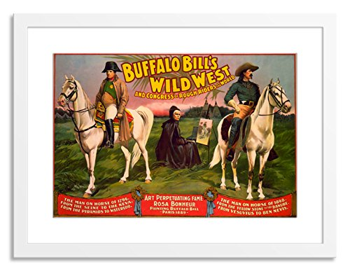 Gallery Direct Buffalo Bill's Wild West, Horse & Painter Artwork on Paper by Courier Litho. Co. with White, Clean and Simple Frame, 37
