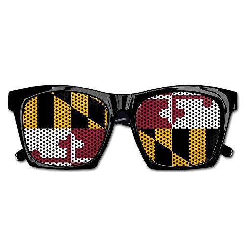 Elephant AN Themed Novelty Maryland Flag Fashionable Visual Mesh Sunglasses Fun Props Party Favors Gift - Flag Maryland Sunglasses