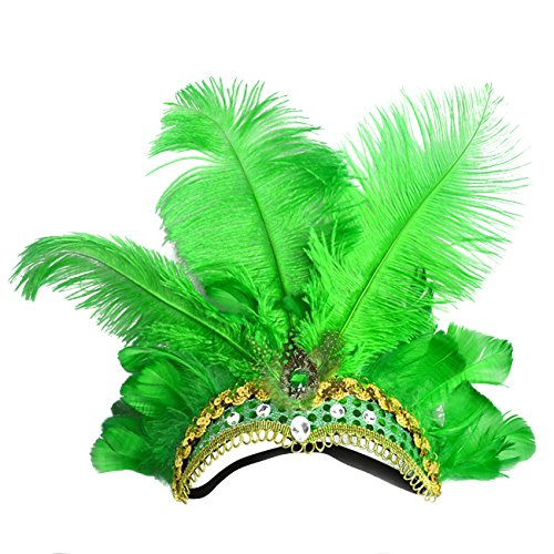 Green Feather Headband - ShiyiUP Masquerade Ball Headwear Belly Dance
