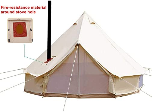 UNISTRENGH 4 Season Large Waterproof Cotton Canvas Bell Tent Beige Glamping Tent
