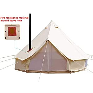 UNISTRENGH 4 Season Large Waterproof Cotton Canvas Bell Tent Beige Glamping Tent with Roof Stove Jack Hole for Camping Hiking Christmas Party