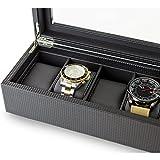 Glenor Co Watch Box for Men - 6 Slot Luxury Carbon