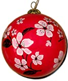 World Treasure Hand Painted Glass Ornament, Cherry Blossoms on Red CO-203