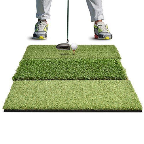 Rukket XL Tri-Turf Golf Hitting Grass Mat | Realistic Fairway & Rough | Extra Large Portable Driving, Chipping, Training Aids | Backyard & Indoor Practice 12 Plastic Tees (XL (23.5 x 36))