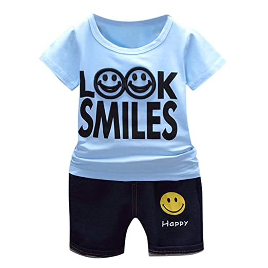 45106e941 Amazon.com  Baby Toddler Girls Boys Summer Clothes Sets 0-3 Years ...