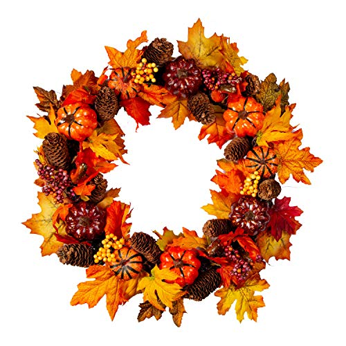 Artificial Autumn Fall Harvest Thanksgiving Wreath on Twig Base for Front Door with Pumpkins, Pinecones, Maple Leaf and Berry     - Twig Pumpkin