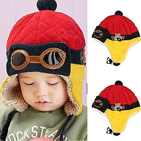 14026efbca5 Warm Cute Baby Earflap Toddler Girl Boy Kids Pilot Aviator Cap Warm Soft  Beanie Hat Bomber Hats
