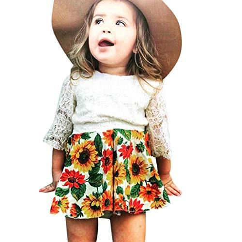 (Rakkiss Girls Lace Outfits Sets Floral Print Tops Hollow Vest Sunflower Jumpsuit Cute Romper)