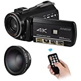 Andoer 4K UHD 24MP Digital Video Camera Camcorder DV Recorder with Extra 0.45X Wide Angle Lens Touchscreen 30X Zoom Support WiFi Connection IR Night Vision With Hot Shoe for External Microphone