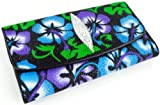 GENUINE STINGRAY LEATHER CLUTCH TRIFOLD WALLET PURPLE BLUE HIBISCUS FLOWER NEW
