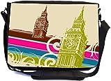 Fine Art Big Ben Retro Design Premium School Messenger Bag + UKBK Wristlet