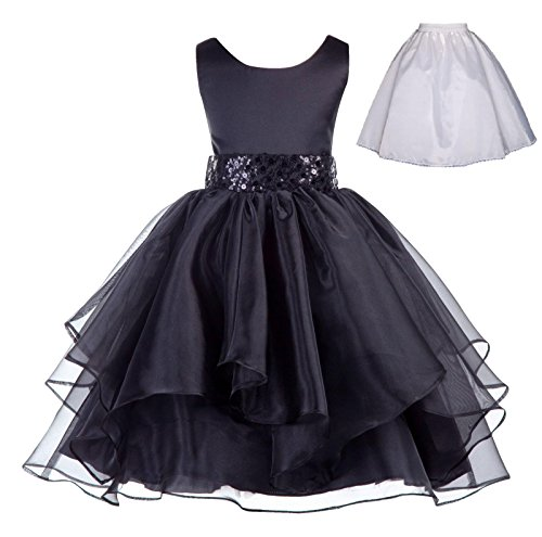 ekidsbridal Wedding Ruffles Organza Flower Girl Dress Sequin Toddler Pageant Free Petticoat 012s -