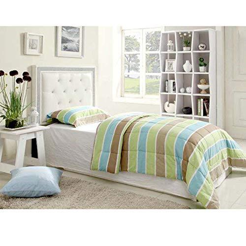 Best Master Furniture 319 Hope Tufted Vinyl Upholstered Headboard, Twin, White