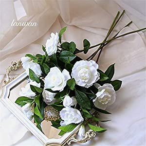 KMCMYBANG Artificial Plant Gardenia Flowers Artificial Silk Bouquets for Office Home Wedding Parties Decor(White,Yellow) Fake Mini Potted Grass (Color : White, Size : One Size) 2