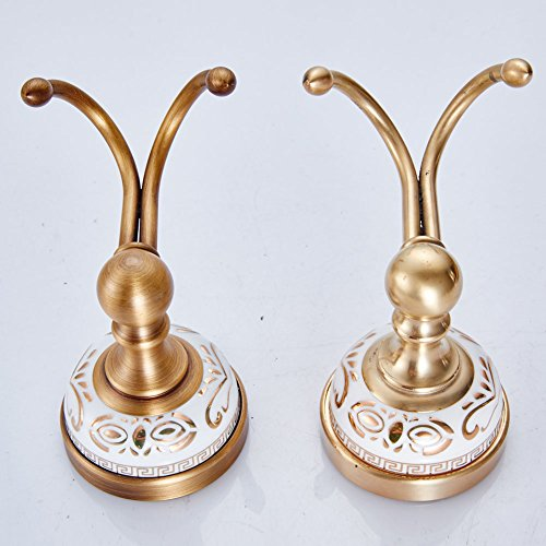 WINCASE European Antique Bronze Brass Gold-Plated Double Heavy Duty Wall Mounted Clothes Hooks White Porcelain Metal Pendants Bathroom Hardware Rustproof Kitchen Coat Robe Hooks Bathroom Accessories by WINCASE (Image #3)