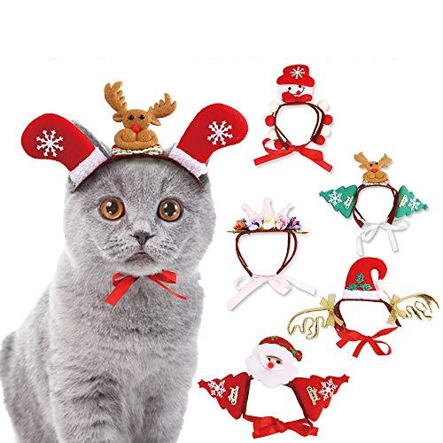 Glumes Christmas Pet Costume Hat - Adjustable Dog Christmas Tree Snowman Hat Pet Costume Reindeer Caps Classic Headband