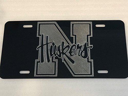 Diamond Etched Nebraska Cornhuskers Logo Car Tag on Aluminum License Plate