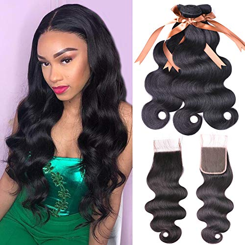 Allrun Hair Body Wave Bundles with Closure(20 22 24+20 Closure)100% Brazilian Unprocessed Human Hair Body Weave Bundles with Free Part Lace Closure Natural Black Color 7A