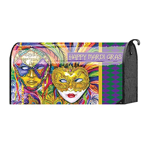Mardi Gras Parade of Feather Mask Faces 22 x 18 Standard Size Mailbox Cover
