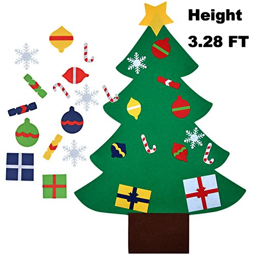 Felt Christmas Tree, Coxeer 3.28FT DIY Christmas Tree with 28 PCS Ornaments Christmas Gifts for kids New Year Door Wall Hanging Xmas Decoration (Green) (Craft Christmas Tree Decorations)