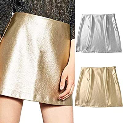 Lookatool Skirts, Women Casual Bright Leather Zipper High-Waist Slim Hip Skirt