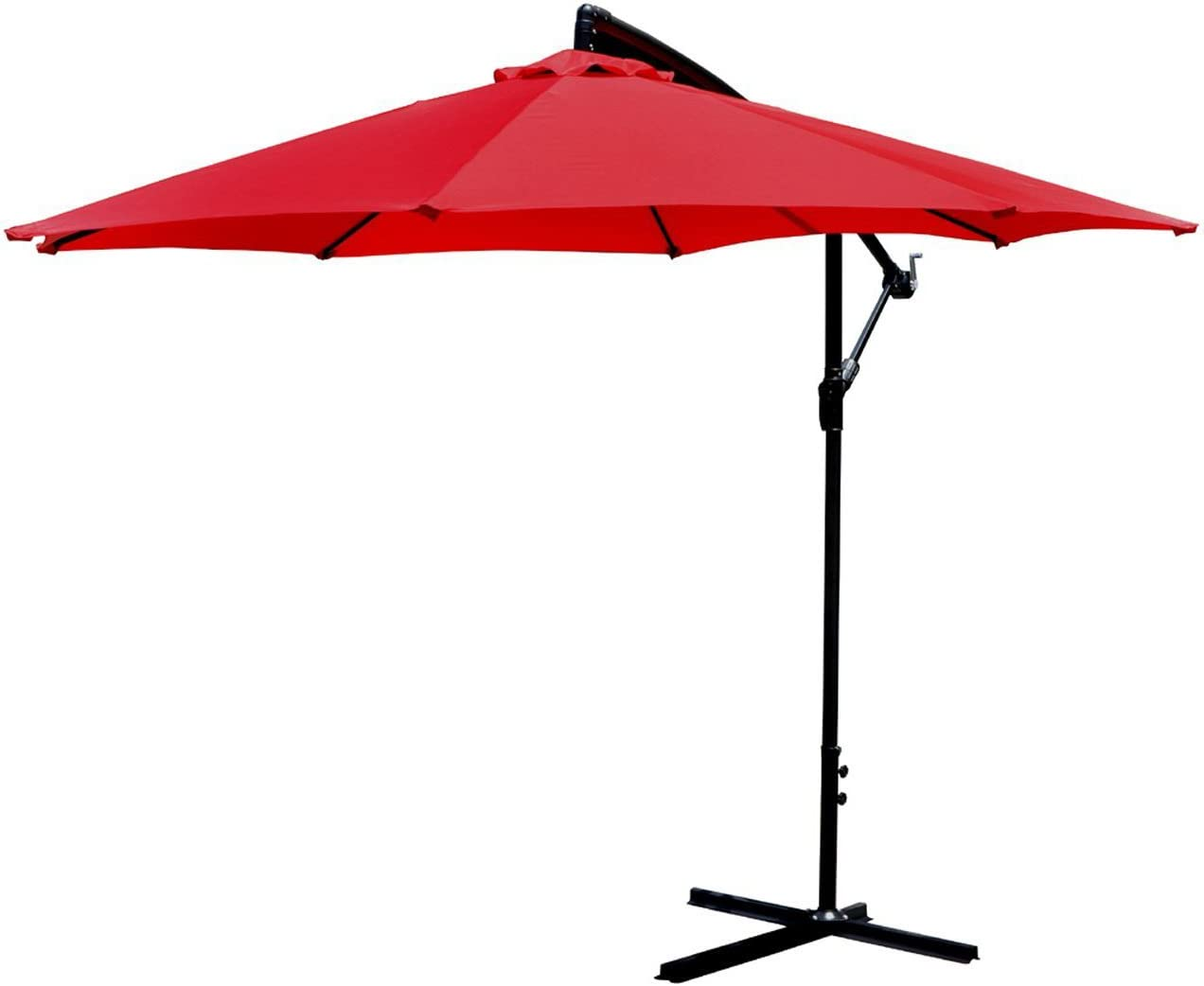 PayLessHere Patio Umbrella Offset 10 Hanging Umbrella Outdoor Market Umbrella Red
