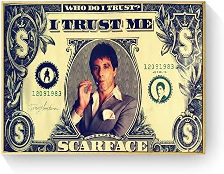 tgbhujk Scarface USA Dollar Style Carteles e Impresiones Arte de la Lona Cuadros Decorativos de Pared para Sala de Estar Decoración para el hogar Pintura 40 * 60 cm sin Marco