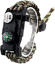 Adjustable Survival Bracelet, 7 Core Paracord 20 in 1 Emergency Sports Wristband Gear Kit with Waterproof LED