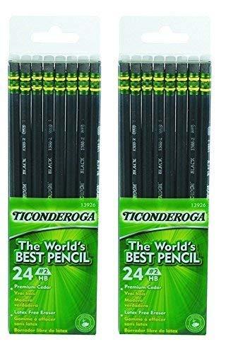 Dixon Ticonderoga Wood-Cased #2 Pencils, 2 Boxes of 24, Black (13926) by Dixon Ticonderoga