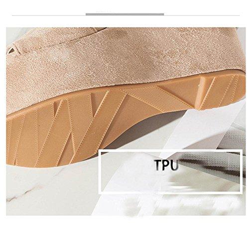 GJDE Mujer Tacón Cuña Cuñas Plataforma Punta Abierta Casual Semicuero pendiente Color Nude con Sandalias nude 10 cm