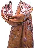 ''Misty Floral'' Silk Merino Wool Shawl Stole Scarf Wrap Purple Copper