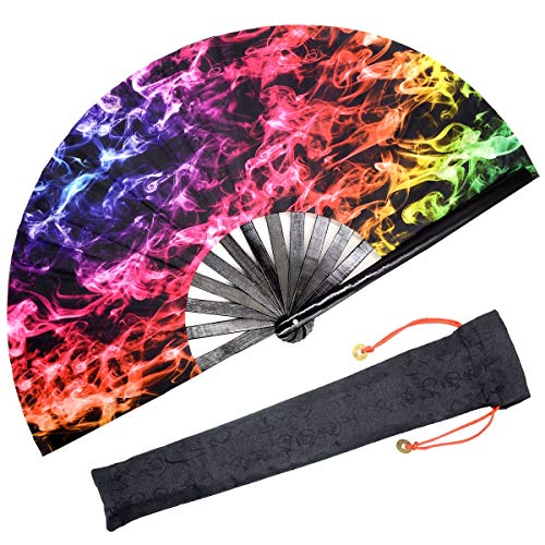 OMyTea Bamboo Large Rave Folding Hand Fan for Men/Women - Chinese Japanese Handheld Fan with Fabric Case - for Electronic Dance Music Festival Party, Performance, Decorations, Gift (Colorful Smoke)]()