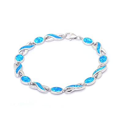 Blue Opal Bangle, Sterling Silver with Vibrant Colour Opal