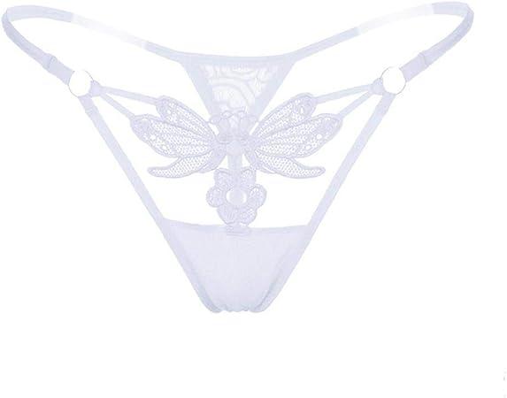 ACHAOHUIXI Tanga Transparente Hermosa Cadera Ropa Interior Femenina, Sexy Bordada Sexy Ropa Interior tentación Real Moda Hueco (Color : White, Size : Freesize): Amazon.es: Hogar