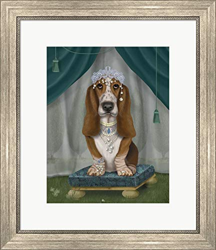 Basset Hound and Tiara by Fab Funky Framed Art Print Wall Picture, Silver Scoop Frame, 19 x 22 inches ()