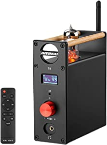 AIYIMA T8 6N3 Digital Tube Preamplifier Bluetooth 5.0 Hi-Fi Headphone Vacuum Tube Preamp for Home Audio Amplifier Wireless Receiver Audio Decoder Preamp PC-USB DAC APTX + with Remote Control