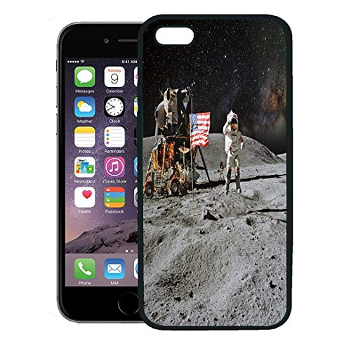 Semtomn Phone Case for iPhone 8 Plus case,Man Astronaut on Lunar Moon Landing Mission of This Furnished by NASA Space iPhone 7 Plus case Cover,Black