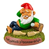 BigMouth Inc Hungover Garden Gnome, Too Much P-Gnome Grigio Saying, Funny Lawn Gnome Statue, Garden Decoration
