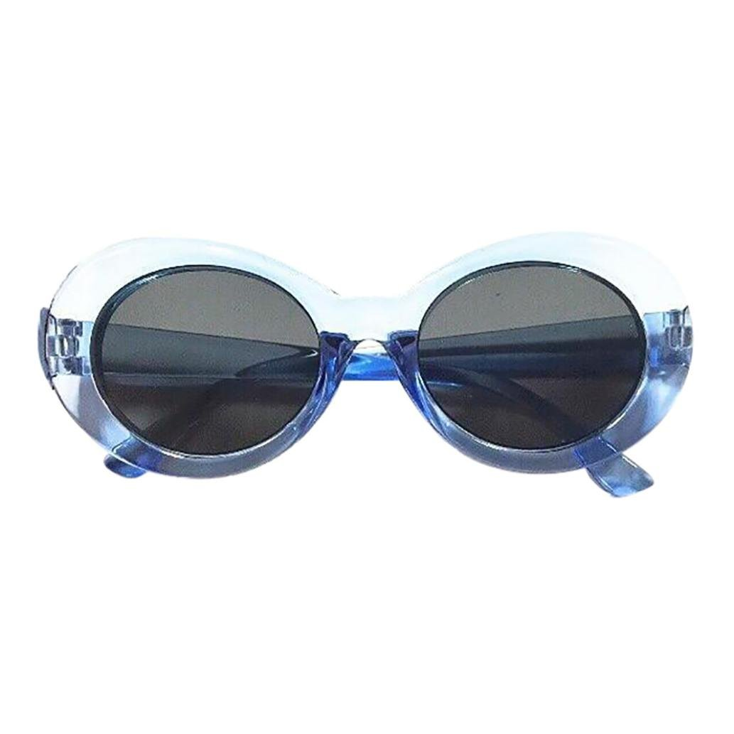 Rapper Sunglasses,Tuscom Retro Vintage Clout Goggles Unisex Oval Shades Grunge Glasses (F)