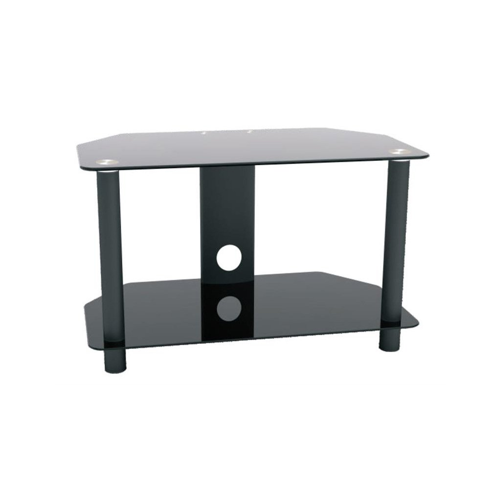 ProHT Glass & Metal TV Stand (05448A) Supports Flat Panel TVs up to 32'' for DVD Players/Cable Boxes/Games Consoles/TV Accessories w/shelves, Chrome Legs, Black Tempered Glass, Cable management